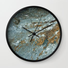 Earthy Blue and Gold Rock Wall Clock