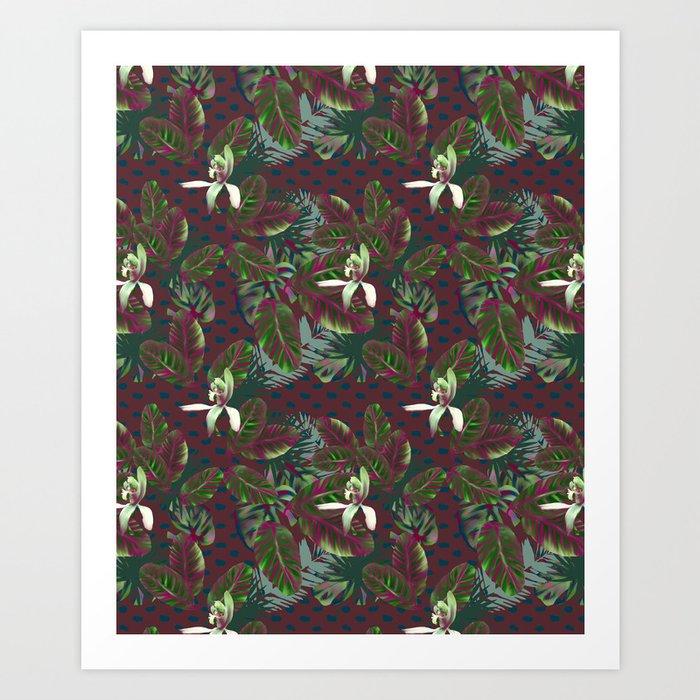 Bush Orchid Maroon Polka Pattern Art Print