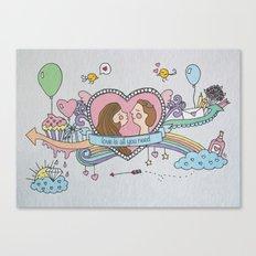 Valentine's Doodle Canvas Print