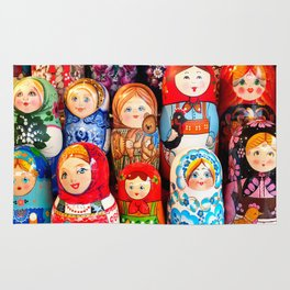 Culture. Group of matrioska, or babushka, symbol of maternity from Russia. Rug