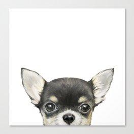 Chihuahua mix color Dog illustration original painting print Canvas Print