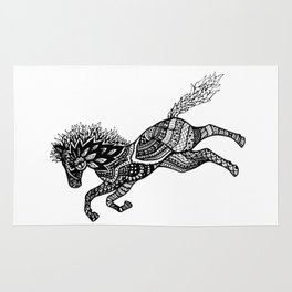 Rearing Horse Zentangle (abstract doodle) Rug