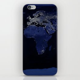 Earth at Night with the lights of most populated cities iPhone Skin
