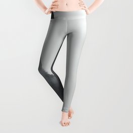 Black And White Misty Cliff Photography Mystery Foggy Landscape Leggings