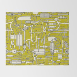 fiendish incisions chartreuse Throw Blanket