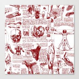 Da Vinci's Anatomy Sketchbook // Dark Red Canvas Print