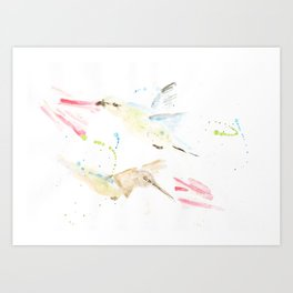 Birds and flower watercolor painting wall decorations paint animals nature home ilusstration Art Print