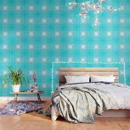Baroque style turquoise floral texture Wallpaper