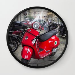 Red Vespa in Milan, Italy Wall Clock
