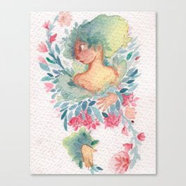 Woman and flowers Canvas Print