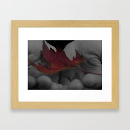 Maple Leaf Grey and Red Scale Framed Art Print