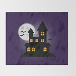 Scary Halloween Haunted House Illustration With The Moon And Bats Throw Blanket