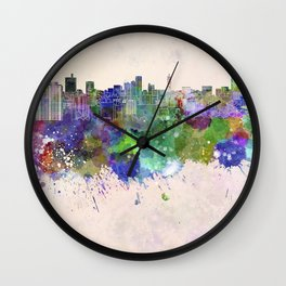 Sendai skyline in watercolor background Wall Clock