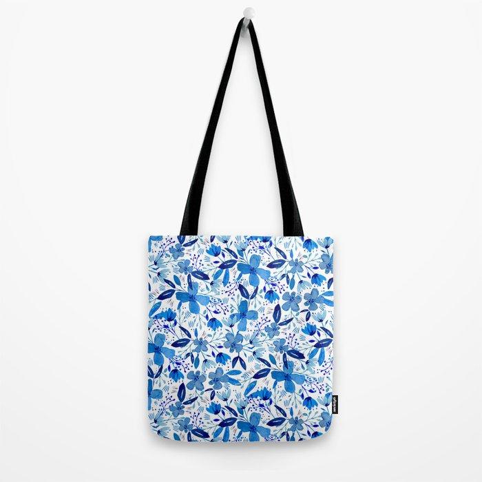 Blue Watercolour Florals Tote Bag