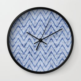 Sky and Ocean Blue Zigzag Imitation Terry Towel Wall Clock