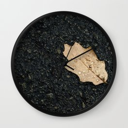 Autumn Leaf With Raindrops Wall Clock