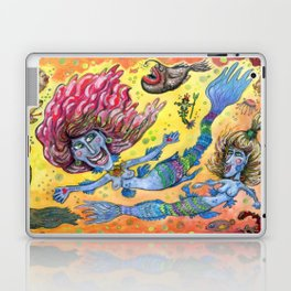 Blue-Finned Mermaids watercolor Laptop & iPad Skin