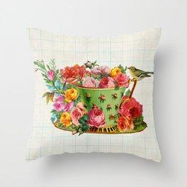 Bird on a teacup Throw Pillow