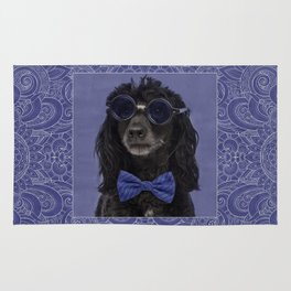 Poodle Dog with glasses and bow tie Rug