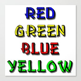 Red Green Blue Yellow Brain Teaser Canvas Print