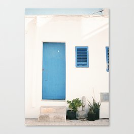 "Travel photography print ""Ibiza blue and white"" photo art made in the old town of Eivissa / Ibiza Canvas Print"