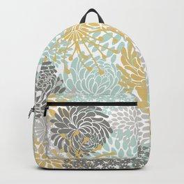 Floral Abstract Print, Yellow, Gray, Aqua Backpack
