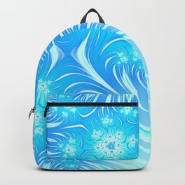 Abstract Christmas aqua blue white pattern. Frozen flowers Backpack