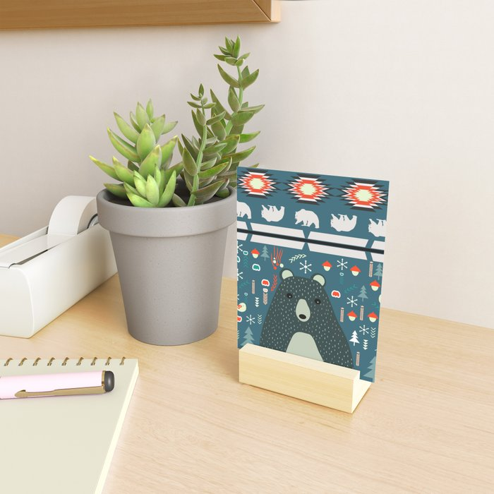 Bear Christmas decoration Mini Art Print