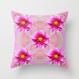 Decorative Pink-Fuschia Dahlias Floral Green Pattern Throw Pillow