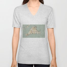 Vintage Map of Martha's Vineyard (1917) Unisex V-Neck