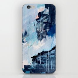 Vibes: an abstract mixed media piece in blues and pinks by Alyssa Hamilton Art iPhone Skin