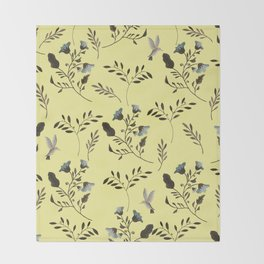 Butter Yellow and Bluebells and Bluebirds Floral Pattern Flowers in Blue and Bark Brown Throw Blanket
