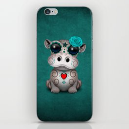 Blue Day of the Dead Sugar Skull Hippo Baby iPhone Skin