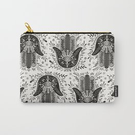 Hamsa Hand – Black & Grey Palette Carry-All Pouch