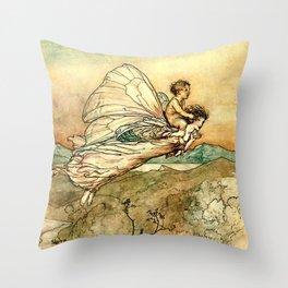 """Bear the Changeling to My Bower"" Art by Arthur Rackham Throw Pillow"