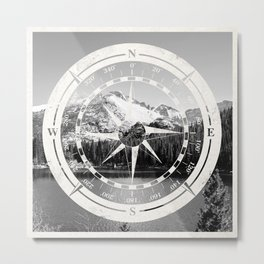 Mountain and Compass Metal Print