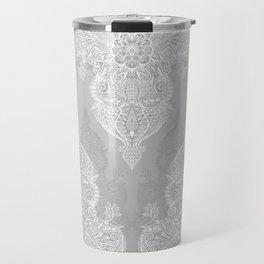 Lace & Shadows 2 - Monochrome Moroccan doodle Travel Mug