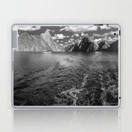 A boat ride in the morning at Milford Sound in black and white Laptop & iPad Skin