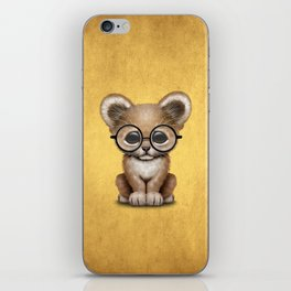 Cute Baby Lion Cub Wearing Glasses on Yellow iPhone Skin