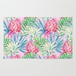 Pineapple & watercolor leaves Rug