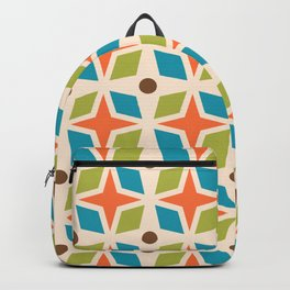 Mid Century Modern Abstract Star Dot Pattern 441 Orange Brown Turquoise Chartreuse Backpack