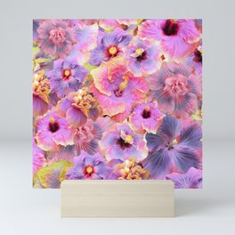 Tropical hibiscus patterns Flower Floral Flowers Mini Art Print