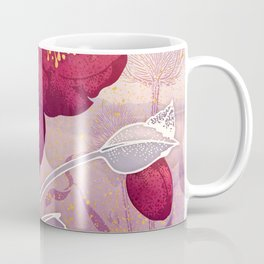 Christmas Roses :: Red Petals, Frosted Leaves Coffee Mug