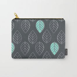 Mint & Silver Leaves Pattern & Slate Carry-All Pouch