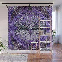 Silver Tree of Life Yggdrasil on Amethyst Geode Wall Mural