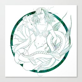 Mermaid and Serpent Canvas Print