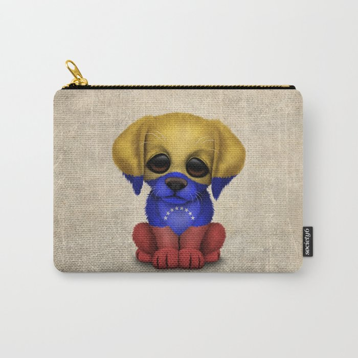 Cute Puppy Dog with flag of Venezuela Carry-All Pouch