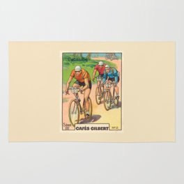 Cyclisme Cyclists Vintage Graphic Cycling Rug
