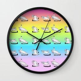 Unicorn Yoga Pattern Rainbow Wall Clock