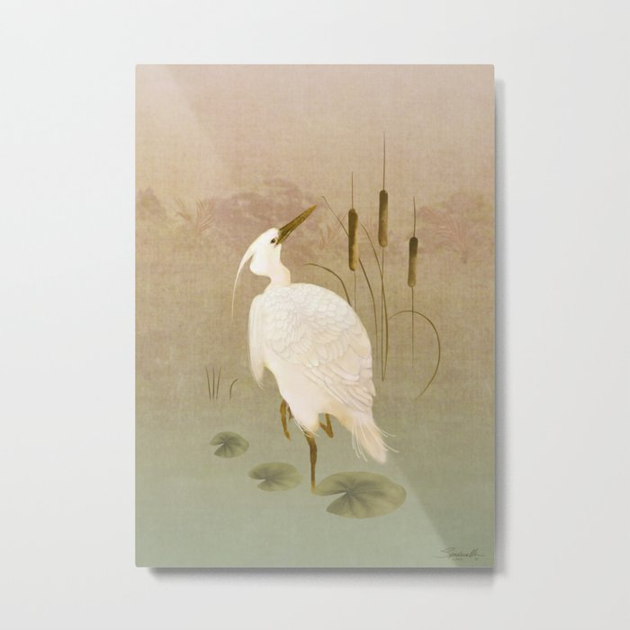 White Heron in Bulrushes Metal Print